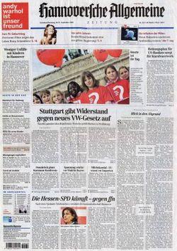 2008-09-20 - Hannoverfche Allgemeine - N° 222